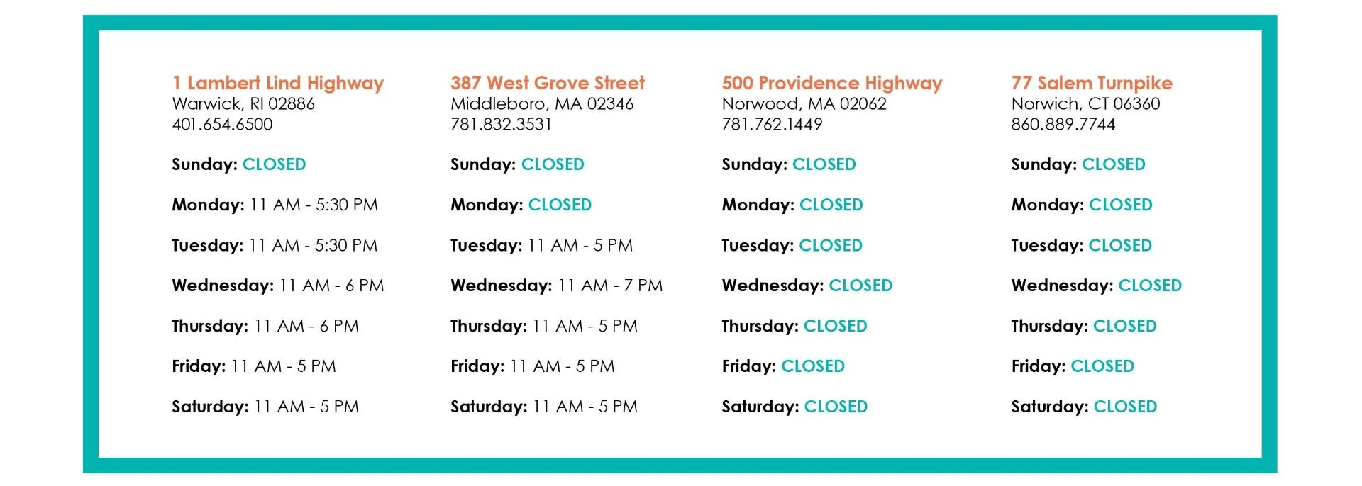 Temporary Store Hours - Updated May 11, 2020