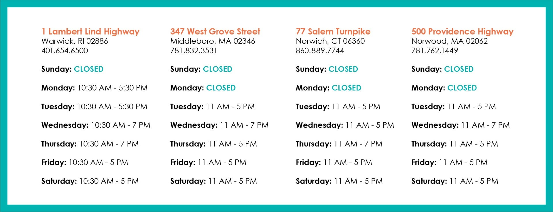 Temporary Store Hours - Updated June 12, 2020