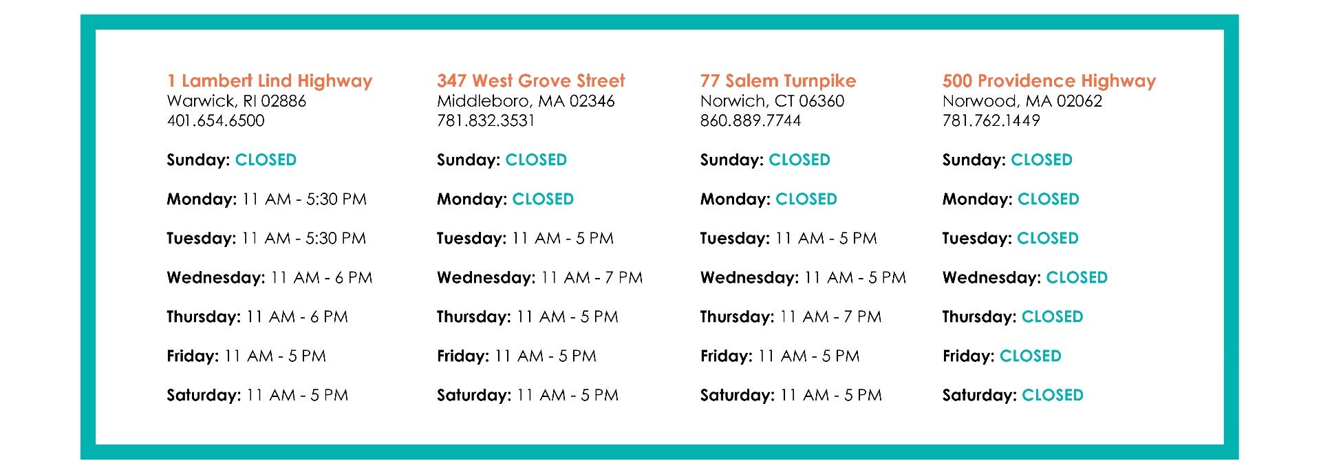 Temporary Store Hours - Updated May 29,2020